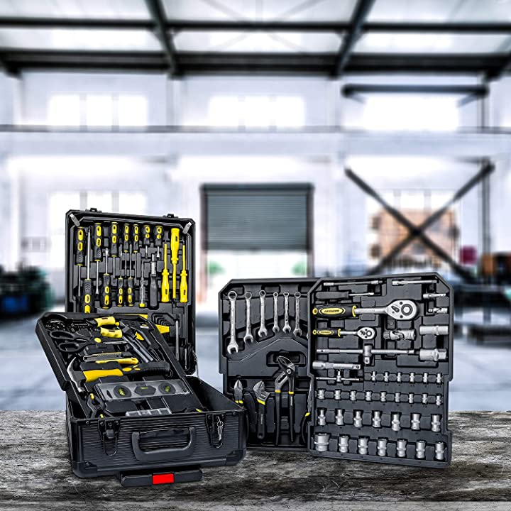 285 attrezzi utensili in acciaio+trolley valigia con 4 cassetti vassoi portautensili daimann tl01 wintem WB-2582