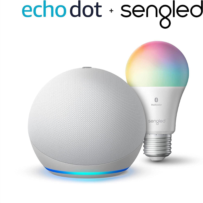 Echo Dot (4th Gen) | Smart speaker with Alexa | Glacier White with Sengled Bluetooth Color bulb