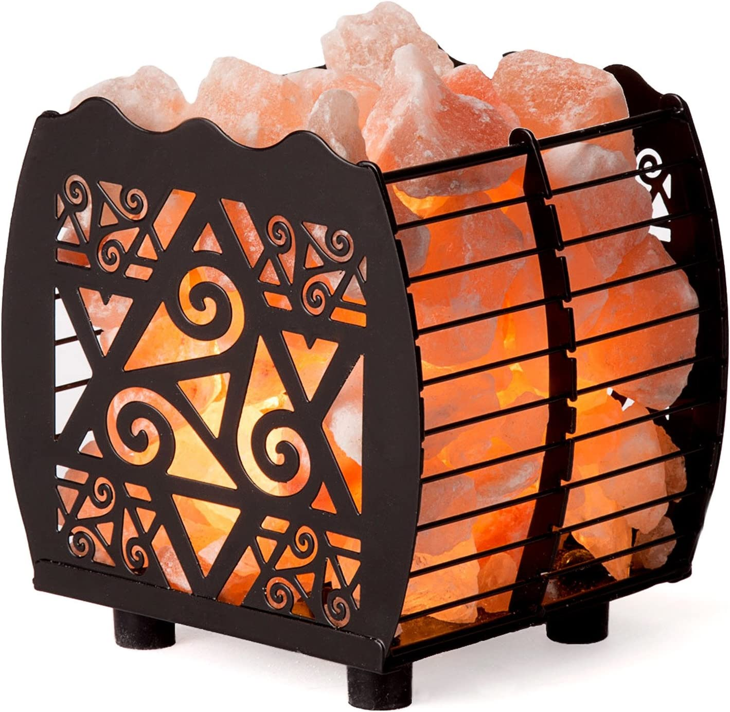 CRYSTAL Super Max 89% OFF special price DECOR Natural Himalayan Salt Lamp with Basket in Metal D