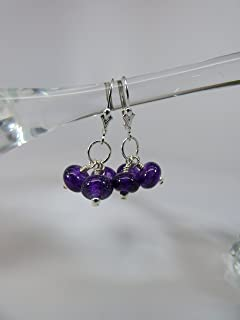 Violet Dichroic Artisan Lampwork Bead Triple Drop Earrings with Sterling Silver Tiny Beads and Leverback Ear Wires