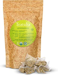 Sponsored Ad - Teatulia Organic Lemongrass Tea + Bay Leaf Herbal Blend, 50 Corn Silk Pyramid Tea Bags, Naturally Caffeine-...