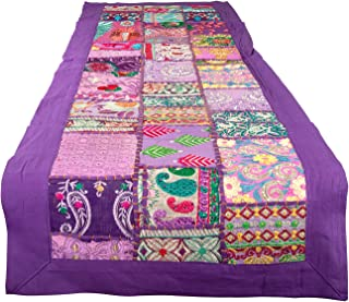 Tribe Azure 100% Cotton Table Runner Hand Embroidered Boho Bohemian Colorful Patchwork Indian Decoration Decor Tapestry (Purple Floral)
