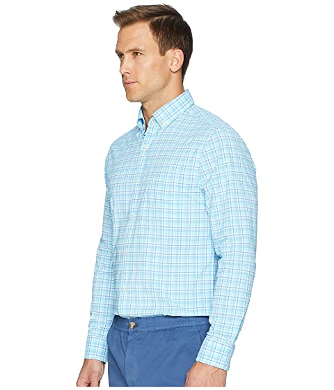 Vineyard Vines Tipsy Bar Plaid Performance Murray Shirt Turquoise Clean And Classic Best Place To Buy MV4ih