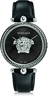 Versace Women's Palazzo Empire Stainless Steel Swiss-Quartz Watch with Leather Calfskin Strap, Black, 16 (Model: VCO060017)