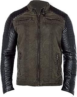Mens Cafe Racer Biker Vintage Motorcycle Rider Casual Cotton Leather Jacket
