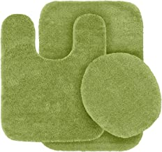 MK Home Collection 3 Piece Bathroom Rug Set Bath Rug, Contour Mat & Lid Cover Non-Slip with Rubber Backing Solid Sage Gree...