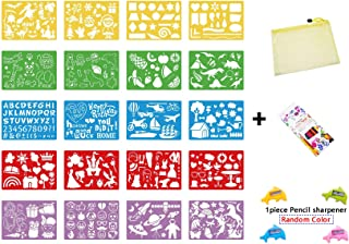 AIVIDIC 20 Pieces Drawing Stencils kit for Kids with12 Color Pencils/Washable Craft Set/Random Colors Bullet Journal Stenc...