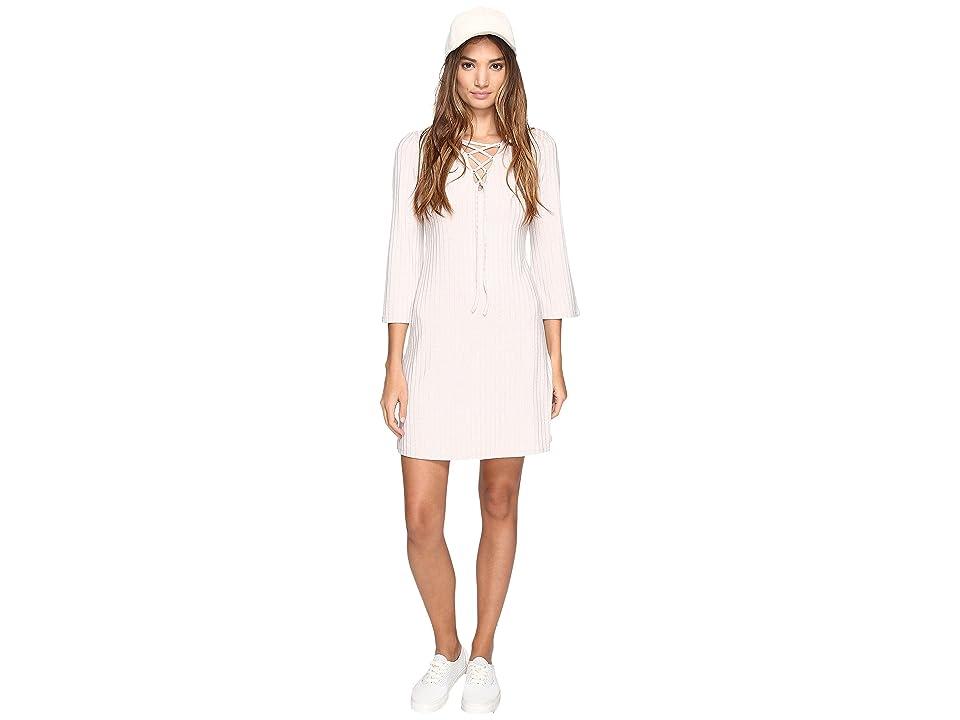 kensie Rib Lace-Up Dress KS2U7007 (Warm Stone) Women