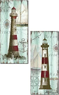 Gango Home Décor Antique La Mer | Lovely Nautical Ocean Striped Lighthouse Panels by TRE Sorelle Studios; Two 8x18in Paper Prints