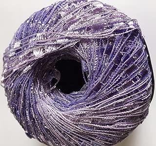 Lilac Shades Mini Ladder Glitz Yarn - Pale Purples with Silver Sparkle Ribbon Yarn - 50 Gram