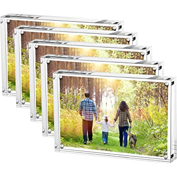 AMEITECH Marco de Fotos acrílico de 13x18 cm, Marcos magnéticos, Soporte de 10 + 10MM de Espesor en Escritorio o Mesa, Transparente - Paquete de 5: Amazon.es: Hogar