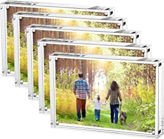 Boxalls Magnetic Photo Frame Clear Acrylic Picture Frames Double Sided, Stand in Desk, Table and Cabinet (5x7-Horizontal-5 Packs)