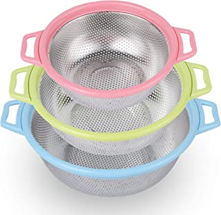 Colander BONOW Strainer Stainless Steel Draining Basket 3-Color Fine Mesh Stacking Kitchen Gadgets with Triangle Base for Rice Pasta Vegetable and Fruit - 3 PCS