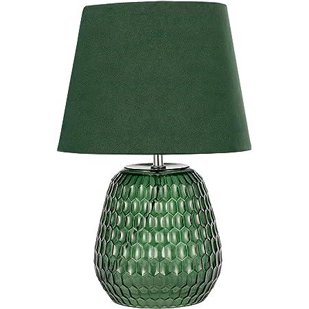 Pauleen 48157 Crystal Lampe Abat-Jour Velours Luminaire à Poser Max 40W E14 Vert 230V Verre/Tissu