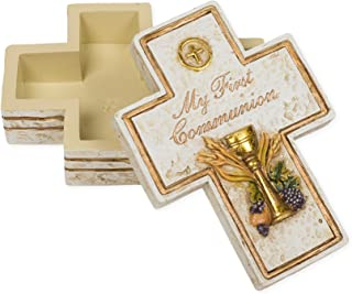 My First Communion Cross Shaped 2.5 x 3.5 Inch Resin Stone Keepsake Box