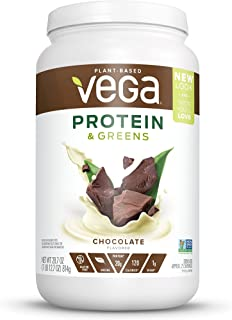 Vega Protein & Greens Chocolate (25 Servings, 28.7 Ounce) - Plant Based Protein Powder, Keto-Friendly, Gluten Free,  Non Dairy, Vegan, Non Soy, Non GMO, Lactose Free