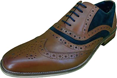 Roamers 5 Eyelet Mens Brogue Oxford Lace Up Shoes