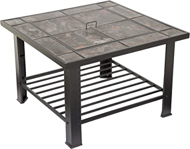 Fire Pit Set, Wood Burning Pit - Includes Screen, Cover and Log Poker - Great for Outdoor and Patio, 30 inch Square Marble Ti