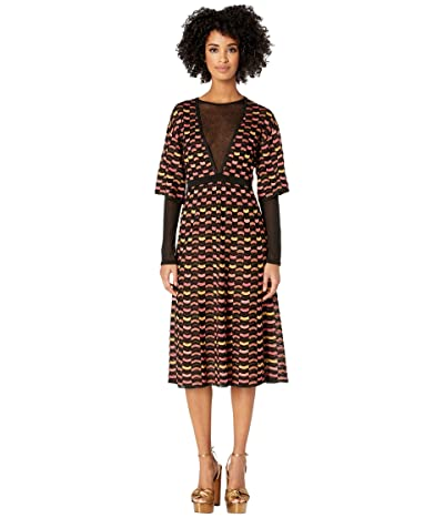 M Missoni Checkerboard Lurex Dress w/ Mesh Detail (Black) Women