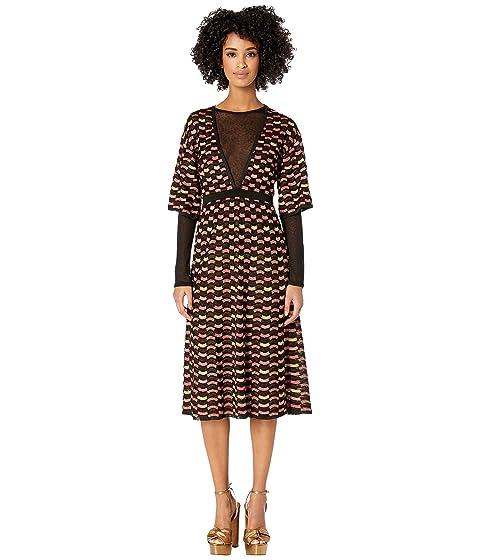M Missoni Checkerboard Lurex Dress w/ Mesh Detail
