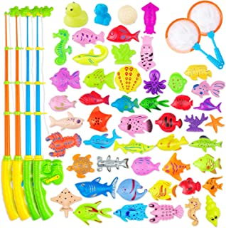 AUUGUU Magnetic Fishing Game Party Favors 58 Pcs - 4 Poles & Reel That Cranks and 4 Nets 50 Floating Fishes for Kids Water...