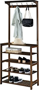 SeiriOne 5-Tier Shoe Coat Storage Rack, 3 in 1 Design Hall Tree, 5 Double Hooks, Top Shelf Organizer, Perfect for Entryway, Mudroom, Foyer,Bedroom etc,Easy Assembly