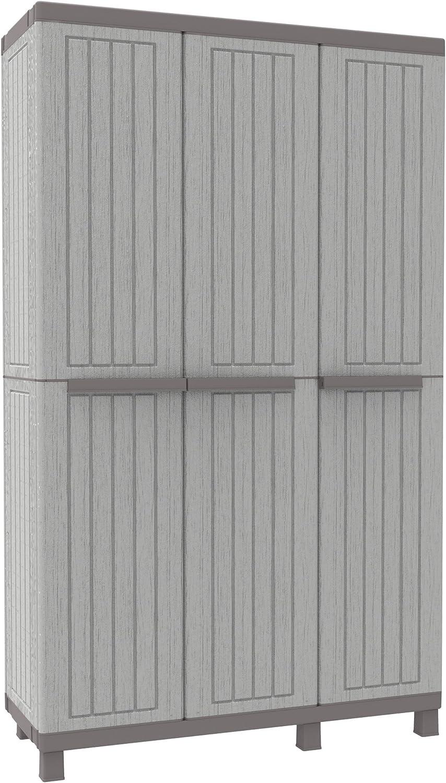 Terry 1102720 C-Wood 102A - Dreifachgarderobe mit 3 Türen, 3 verstellbaren Fachbden und 1 Haken, Kunststoff, Grau, 102 x 39 x 170 cm