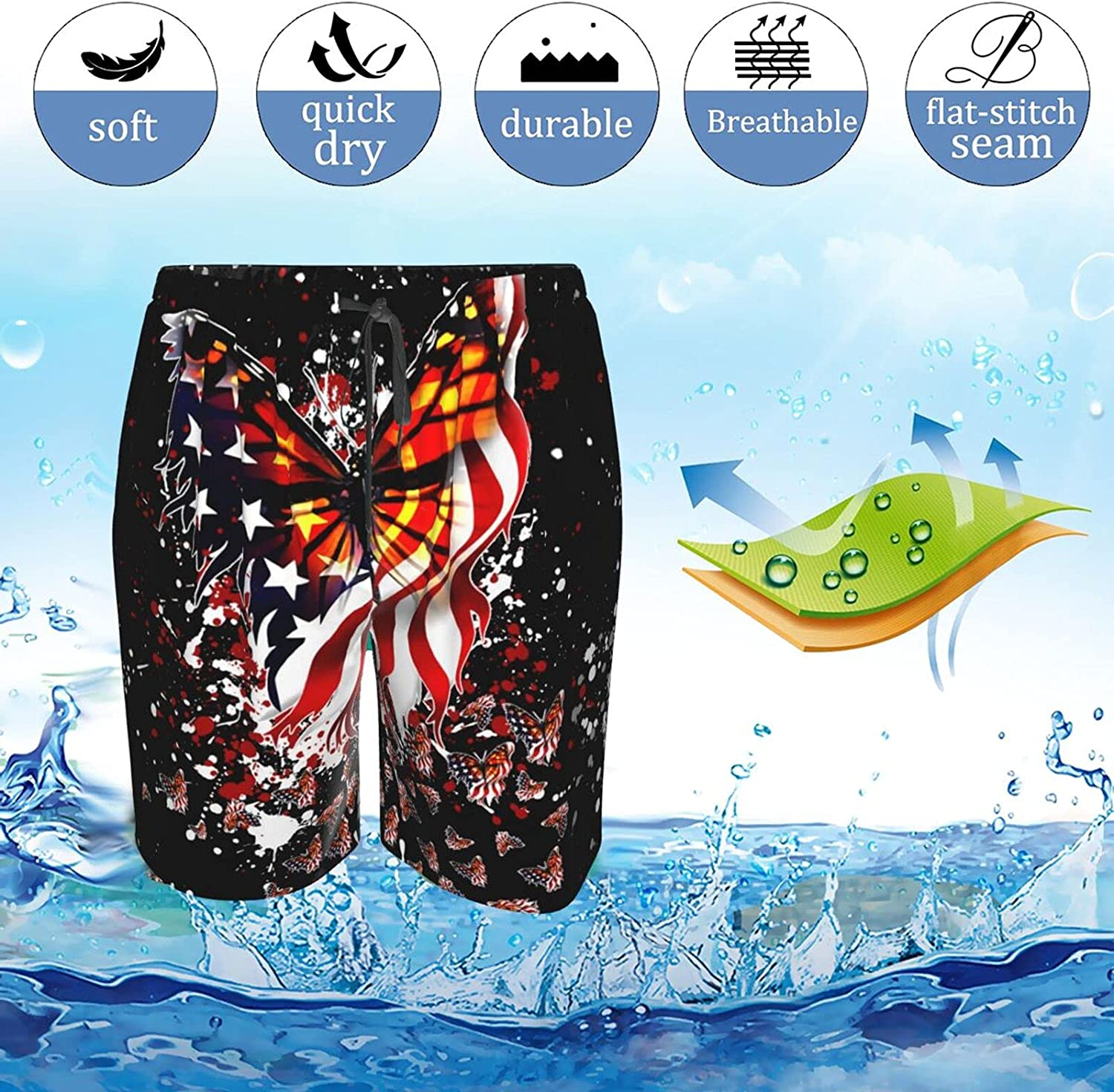 Mens Bathing Suits American Butterfly Flag Swim Boardshorts Drawstring 3D Printed Swimming Trunks with Lining