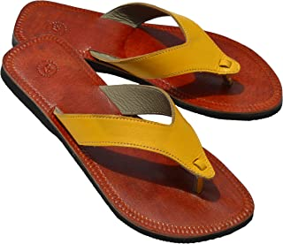 Women Leather Sandals Yellow V Strap Flats Hippie Indian Christian Sandals