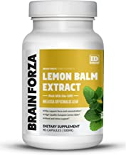 Brain Forza European Lemon Balm Extract Capsules for Stress, Focus and Mood Support - Can be Used to Make Tea, 90 Capsules