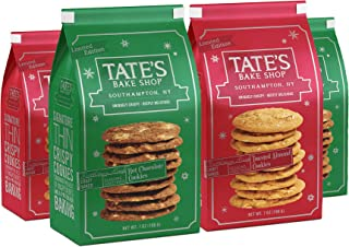 Tate's Bake Shop Limited Edition Holiday Cookies, Variey Pack, 7 Ounce, 4 Count (2 Hot Chocolate, 2 Toasted Almond)