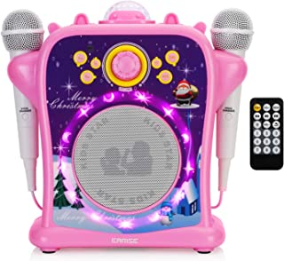 EARISE T29 Karaoke Machine for Kids Girls with Voice Changer, Portable PA Bluetooth Speaker Singing Machine with 2 Wired Microphones, LED Disco Lights, Supports USB/AUX