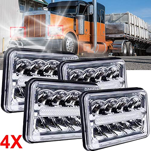 2021 4Pcs online 4x6 Inch LED DRL Headlights outlet online sale For Peterbilt 357 378 379 387 362 1988-2008 Plug and Play Extremely Bright High Low Beam DRL sale