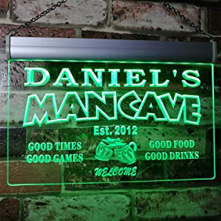 x0012-tm-g Man Cave Bar Custom Personalized Your Name Established Date LED Neon Sign Green 16x12 inches