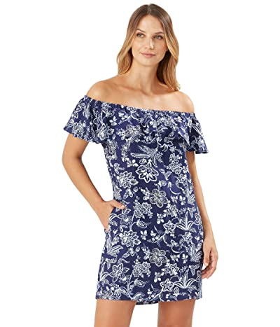 Tommy Bahama Delft Floral Off-the-Shoulder Ruffle Dress Cover-Up