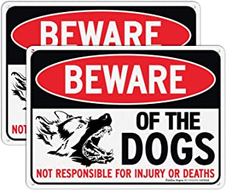 Beware of Dog Sign Not Responsible for Injury or Death,10x7 Inch Rust Free Aluminum Metal Sign, Reflective, Fade Resistan...