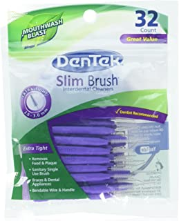 Dentek Slim Brush 32 Count Deep Clean Tight Teeth (3 Pack)