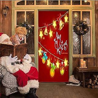 AKSBHC Carta da Parati Porta 3D, murale 95x215CM Campane di Vacanze di Natale Soggiorno Camera da Letto Decorazione della ...
