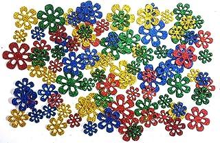 Kochartz Glitter EVA Foam 92 Pieces Self Adhesive Flower Shape Cutouts Stickers for Art & Craft Decoration (Multicolour, GEFS01FLWR)