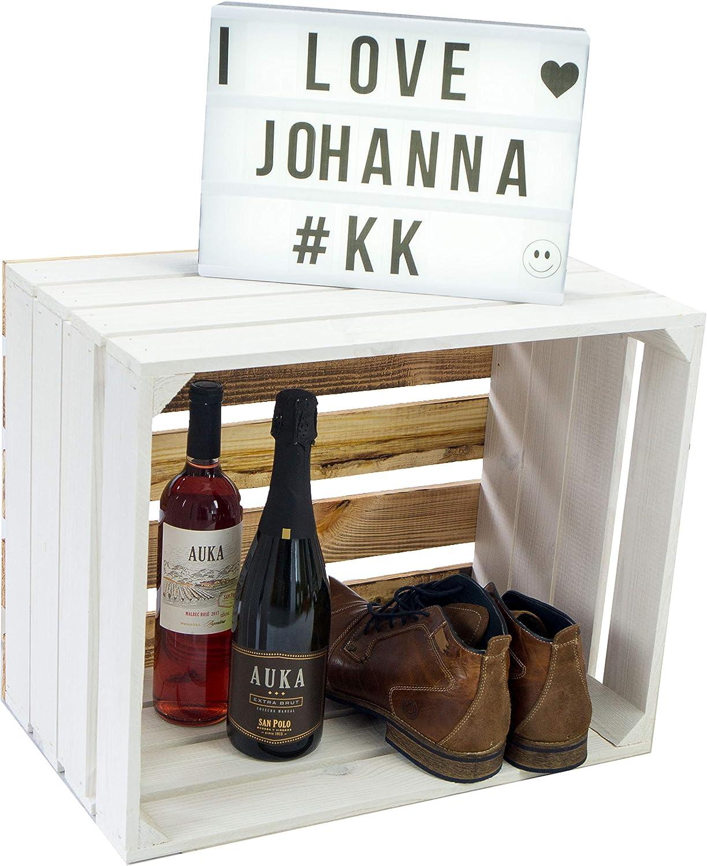 Holzkiste Paula weiss mit geflammten Boden 50x40x30cm Aufbewahrungsbox Aufbewahrungskiste Regalkiste Apfelkisten Weinkisten Schuhregal B/ücherregal Kleiderschrank Paula doppelt geflammt L/ängs
