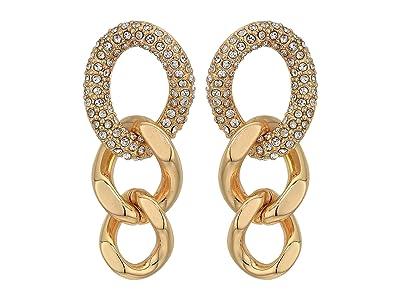 Rebecca Minkoff Pave Link Drop Earrings (Gold) Earring