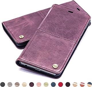 QIOTTI Lederen Case compatibel met iPhone Xs Max Portemonnee Flip Kickstand Kaarthouder en RFID NFC bescherming (Smart Paars)