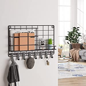 Tribesigns Mail Organizer Wall Mounted, Key and Mail Holder with 8 Key Hooks & A Floating Shelf, Key Rack Mail Sorter Organizer for Wall Decorative, Bronze