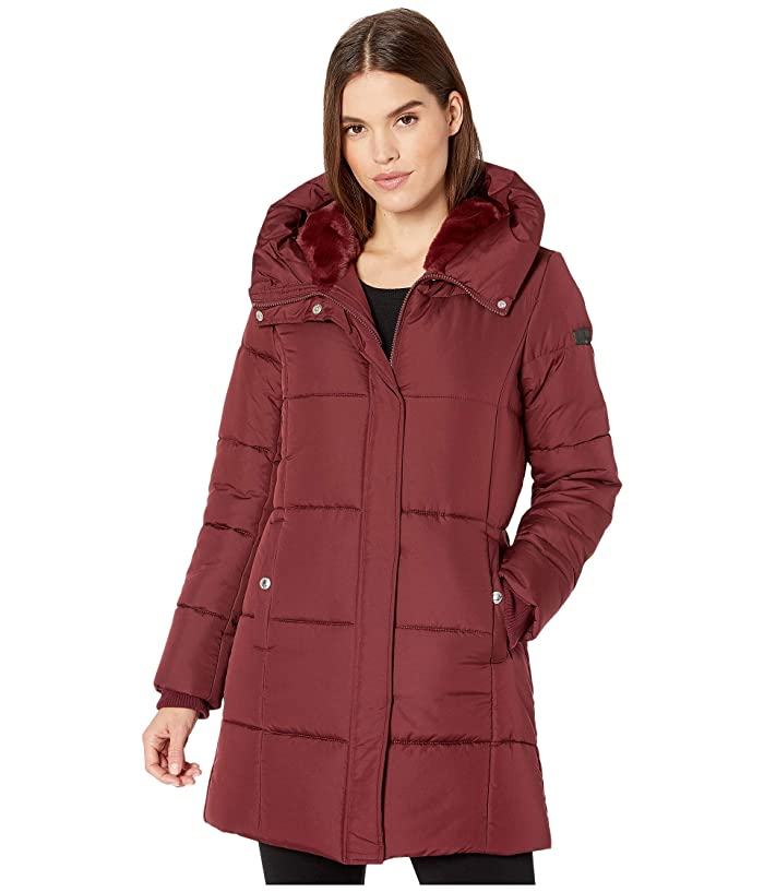 Sam Edelman  3/4 Polyfill with Faux Fur Liner (Burgundy) Womens Coat