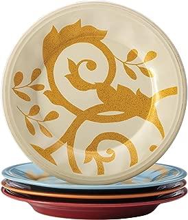 Rachael Ray Dinnerware Gold Scroll 4-Piece Salad Plate Set, Assorted