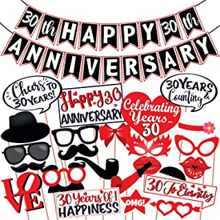 Wobbox 30th Anniversary Photo Booth Party Props DIY Kit with 30th Anniversary Bunting Banner, Red & White , Anniversary Pa...