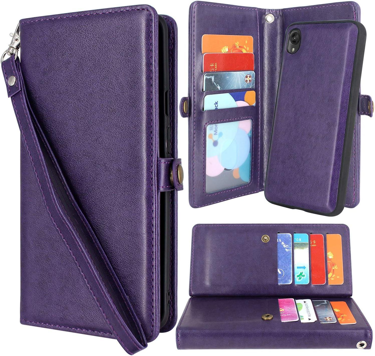 Harryshell Moto E6 Case, Detachable Magnetic 12 Card Slots Wallet Case Shockproof PU Leather Flip Protective Cover Wrist Strap for Motorola Moto E6 (2019) (Purple)