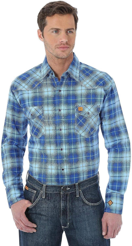 Wrangler Men's Flame Resistant Fashion Plaid Long Sleeve Work Shirt Big and Tall
