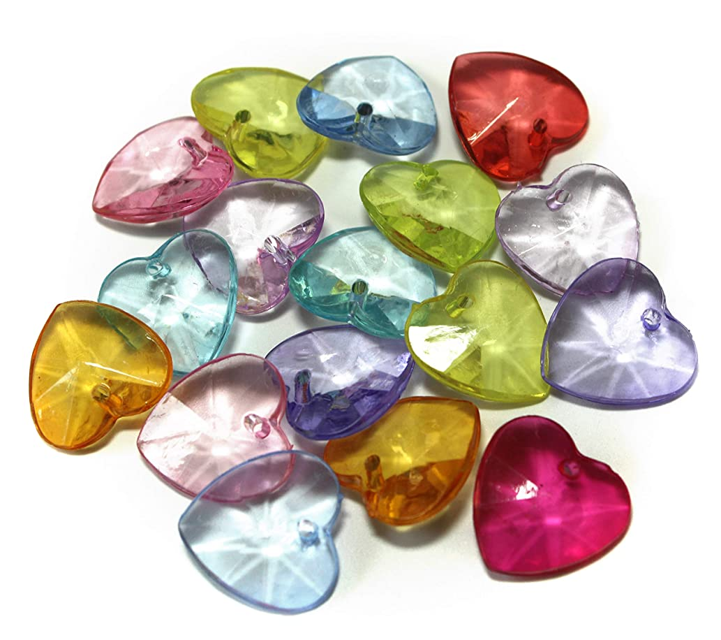 ALL in ONE 100pcs Mixed Color Acrylic Rhinestone Crystal Heart Shape Beads