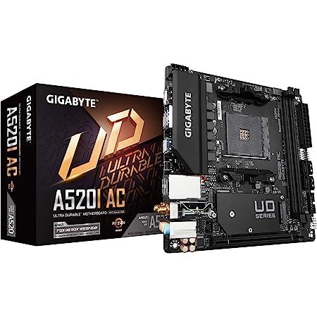 Gigabyte A520I AC (AMD Ryzen AM4/Mini-ITX/Direct 6 Phases Digital PWM with 55A DrMOS/Gaming GbE LAN/Intel WiFi+Bluetooth/NVMe PCIe 3.0 x4 M.2/3 Display Interfaces/Q-Flash Plus/Motherboard)